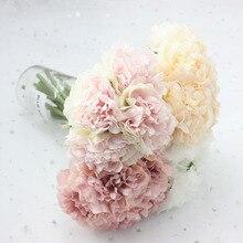 5pcs artificial peony wedding decoration home accessories silk hydrangea cheap flowers