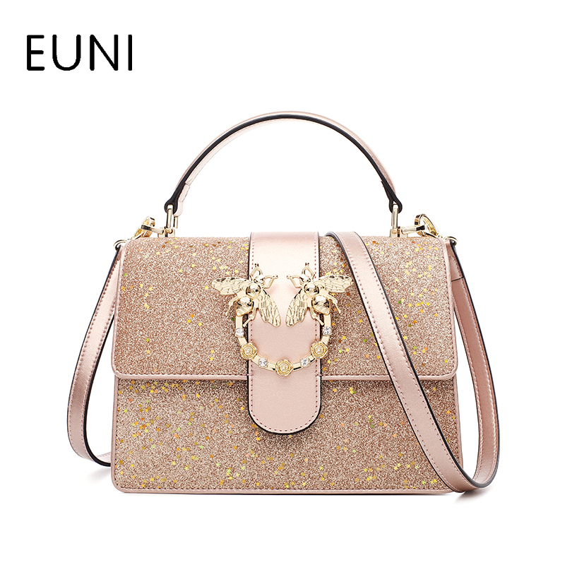 EUNI Brand Women's Cowhide Leather Bags Ladies New Fashion Chain Crossbody Bags Girl High Quality Shoulder Bag & Messenger Bags euni brand women s solid circular bags ladies mini crossbody bag female new fashion cowhide leather shoulder bag luxury design