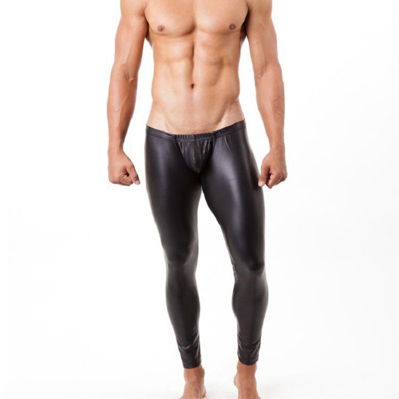 Men Faux Leather Form-Fitting Pants Club Tight Pyjamas Sexy Appeal Male Recreational Household Trousers Traceless Sleep Bottoms