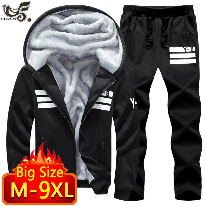 Big Size 7XL 8XL 9XL Brand Men Sets Autumn winter Sporting Suit Sweatshirt + Sweatpants Mens Clothing 2 Pieces Sets Tracksuit-in Men's Sets from Men's Clothing