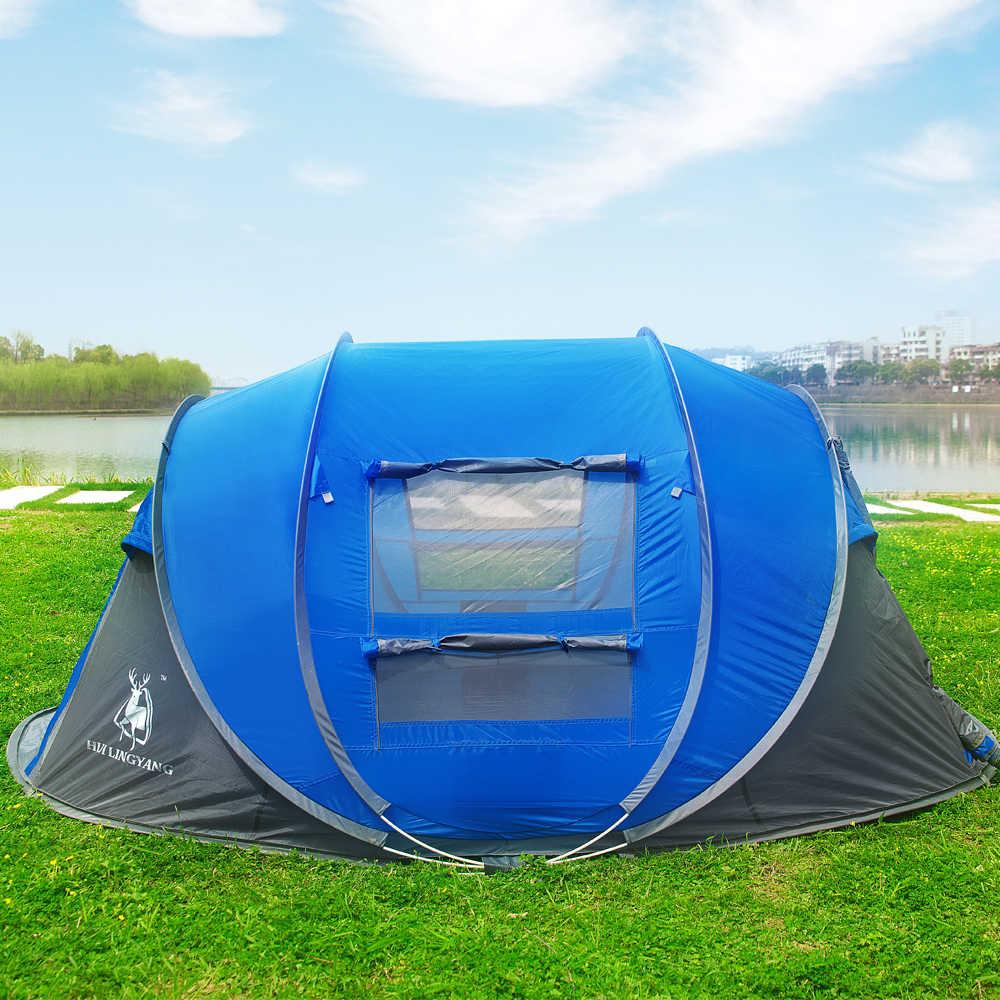 Hui Lingyang Melempar Tenda Outdoor Otomatis Tenda Melempar Pop Up Tahan Air Camping Hiking Tenda Tahan Air Besar Keluarga Tenda