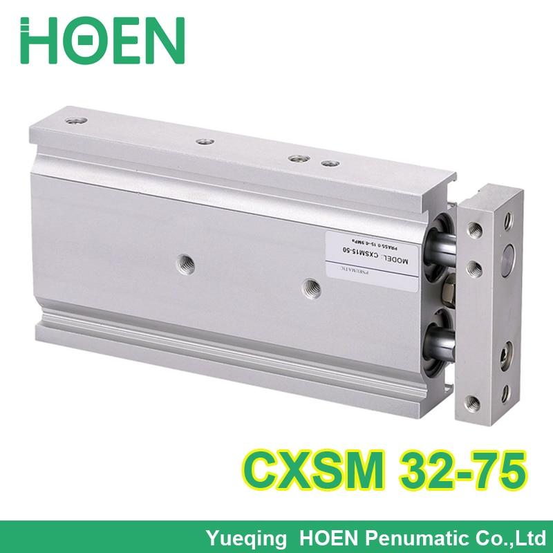 CXSM32-75 haute qualité double effet double tige piston pneumatique cylindre CXSM 32-75 32mm alésage 75mm course avec roulement à glissière