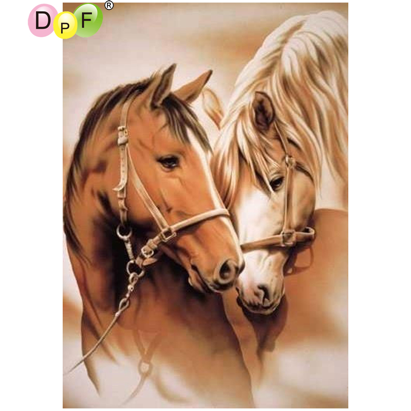 DPF DIY Two horses 5D needlework diamond mosaic full square home decor diamond embroidery crafts diamond painting cross stitch