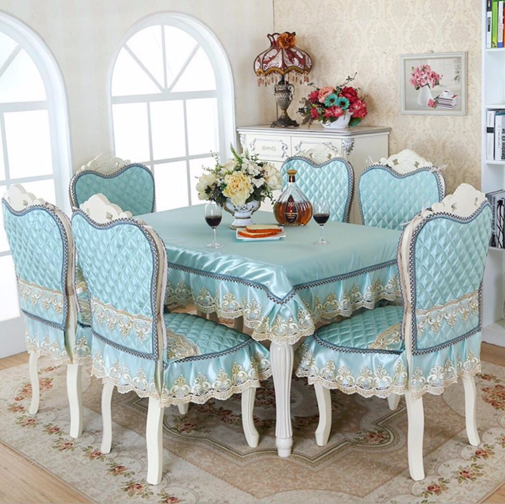 SunnyRain 5 7 Piece Luxury Table Cloth Set Imitated Silk Lace Tablecloth Chair Cover