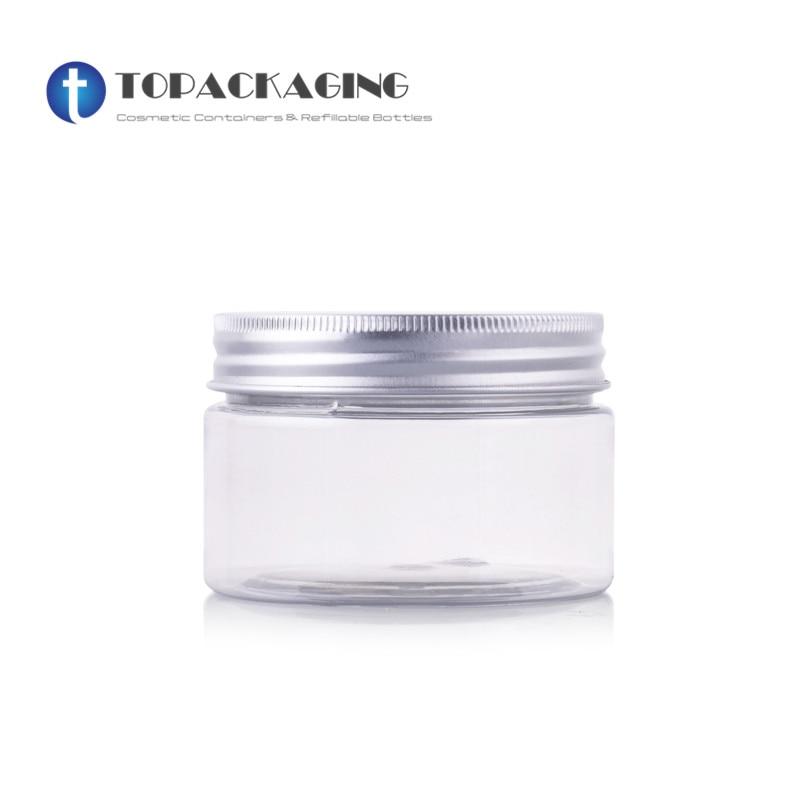30PCS LOT 100G Cream Jar Transparent Plastic Cosmetic Container Empty Mask Refillable Packing Aluminum Screw Cap