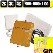 ГОРЯЧАЯ GSM 900 1800 WCDMA 2100 Tri-Band Booster 2 Г 3 Г 4 Г LTE 1800 дб Мобильный Телефон Усилитель Сигнала Ретранслятор Сотового сигнала для европа