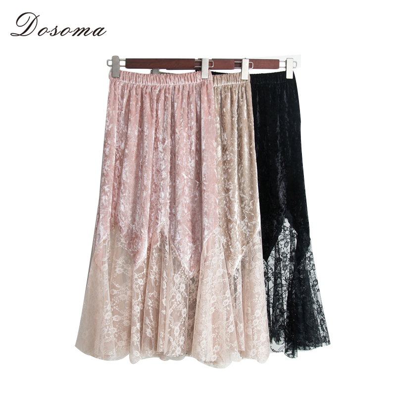 DOSOMA Womens skirt 2018 Spring velvet stitching mesh hollow out Long skirt ruffles lace skirts womens patchwork high waist