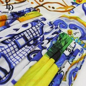 Image 5 - LD LINDA DELLA Fashion vestido Midi de algodón para mujer, vestido con lazo y tirantes finos, con hermosa estampado Floral