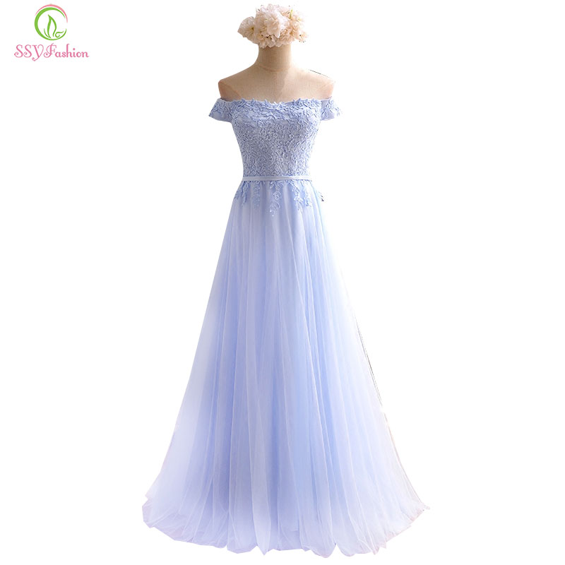 Robe De Soiree 2017 SSYFashion   Bridesmaid     Dresses   The Sweet Light Blue Lace Cap Sleeve Banquet Elegant Long Party Formal   Dresses