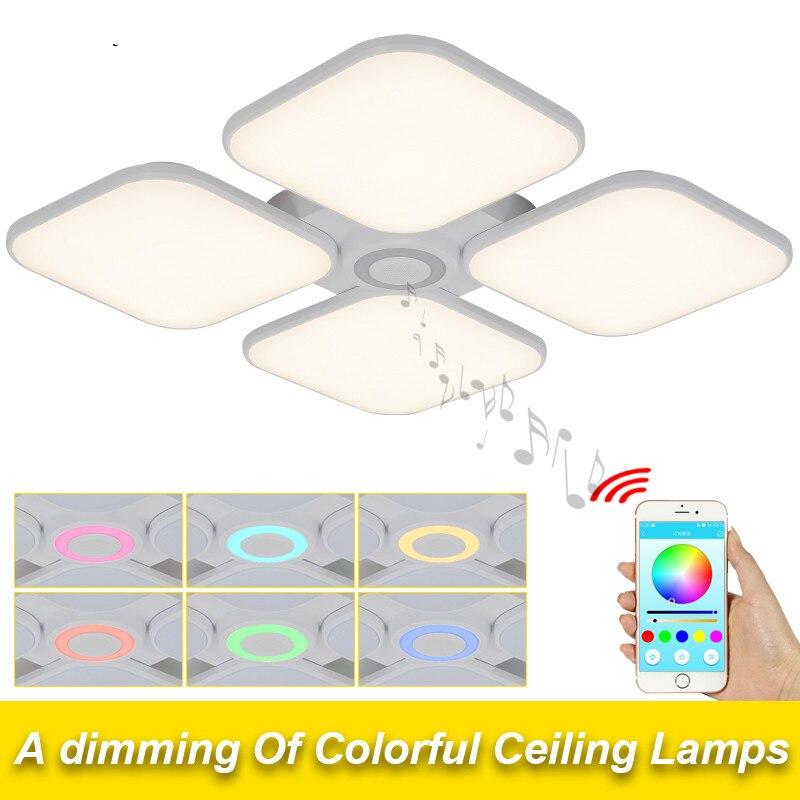 Celing Luzes Branco Frio + Branco Quente luminaria Luz Música Do Bluetooth Inteligente APP Controle Abajur/Luz de Teto Moderno - 2