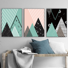 Minimalistic Abstract Black And White Pink Green Geometric Pattern A2 A3 A4 Canvas Art Print Poster Picture Wall Home Decoration