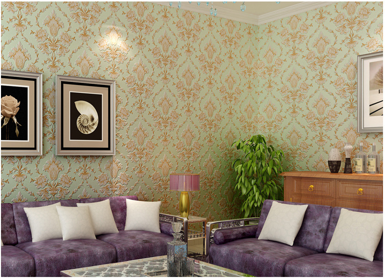 Popular brown/beige/green Damask Wall Paper Vintage Classic  French Modern Feature Wall paper Roll  Bedroom papel de parede yellow vintage classic beige french modern damask feature wallpaper wall paper roll for living room bedroom ds 162031
