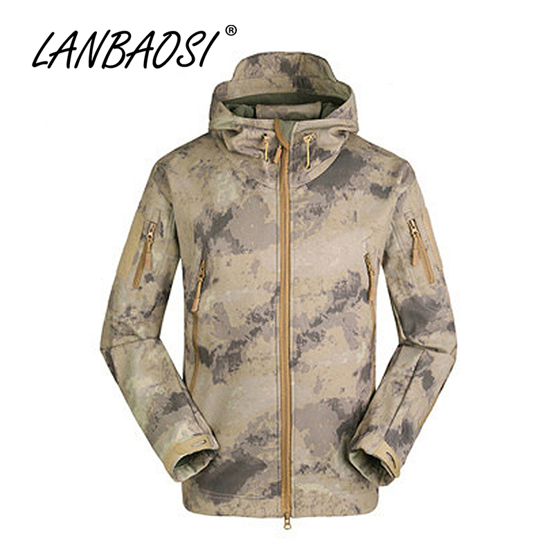 LANBAOSI Outdoor Sports Men's Tactical Fleece Softshell Jackets Army Camo Military Combat Hooded Thermal Hunting Hiking Clothes