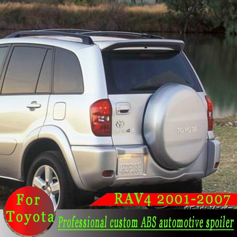 For Toyota RAV4 2001 2007 High quality ABS material rear spoiler RAV4 white or black or primer DIY color spoiler car rear wing