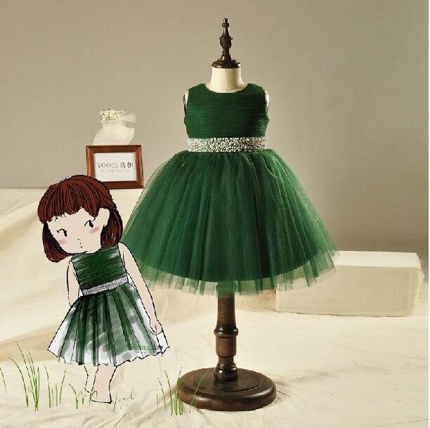 o-neck green tulle crystal sashes flower girl Dresses for weddings 2016 first communion dresses for girls tea-length handmade