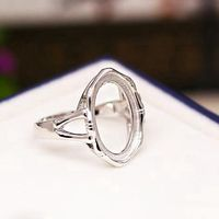Engagement 925 Sterling Silver Ring Women Ring 13x18mm Oval Cabochon Semi Mount Fine Jewelry Setting For