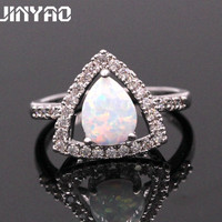 JINYAO Jewelry Special Design Fire Opal 925 Sterling Silver Ring For Engagement 5colors