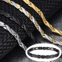 Vinterly Bracelet énergie santé homme croix acier inoxydable Bracelet magnétique hommes couleur or chaîne lien Bracelet pour hommes bijoux
