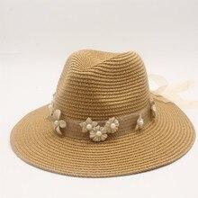 Seioum 2019 New Summer British pearl Flower beading flat brimmed straw hat Shading sun Lady beach