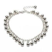 Silver Metal Rhinestone Fringe Bangle Bracelet for Ankle Foot Women's deco