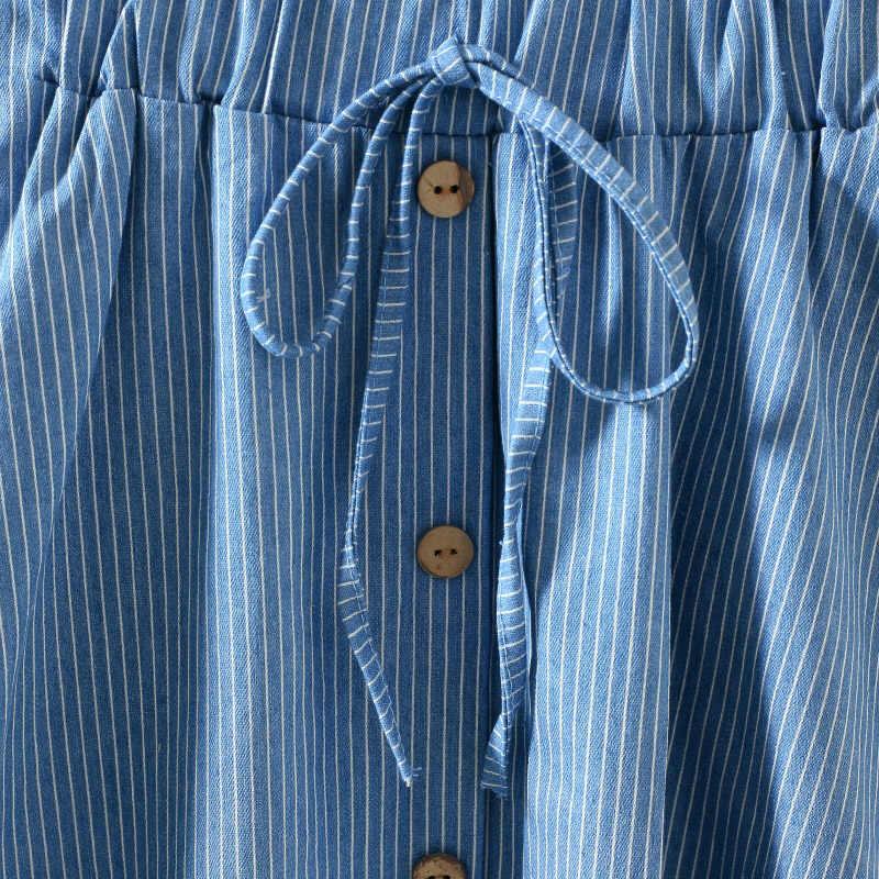 d3bb33eb7c5 ... New Arrivals Striped Denim Skirt Women 2018 High Waist Saia Midi Girls  Jean Skirts Button Lace ...