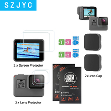SHOOT Tempered Glass Lens + LCD Screen Protector For GoPro Hero 7 6 5 Hero7 Hero6 Hero5 Black Camera Protective Film For Go Pro action camera accessories tempered glass film lcd hd screen protector dustproof protective film for gopro hero 7 6 5