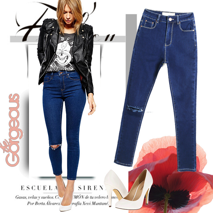 2016 Ripped Pencil Pants Hole In The Knee Jeans For Women Female Denim Blue Skinny Feminino Slim