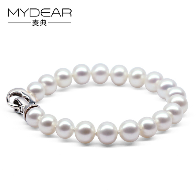 MYDEAR Pearl Jewelry Classical Bridal Natural 8-9mm White Glossy Freshwater Pearl Bracelet For Women Cultivate Pearl Bracelace