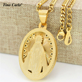 Tino Carlo Christian Jewelry  Gold Plated Our Lady of Guadalupe Virgin Mary Saint Medal Religious Necklace Miraculous Medal