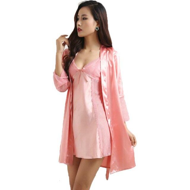 New Arrival Sexy women's Robe Set Free Shipping 2016 Nightwear Lounge Sleepwear Silk Lace Satin Female Home Wear Best Gifts Item