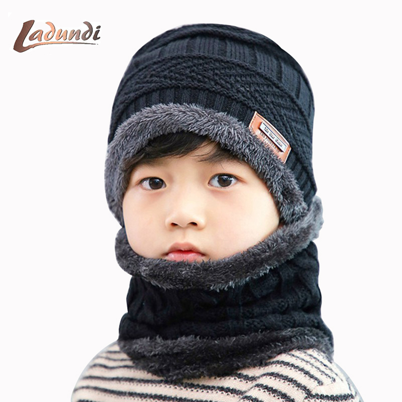 Brand Children's Knitted Hat Scarf Suit Winter Cute Soft Hat Scarf Warm Plus Velvet Thickening Head Cap Casual Clothing Boy Girl