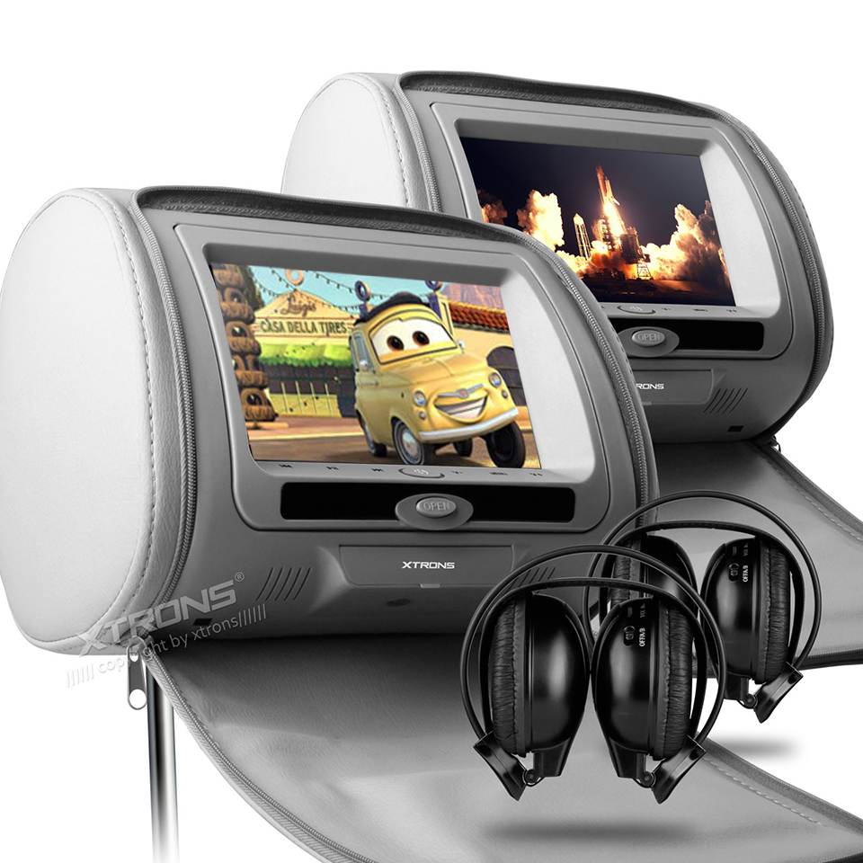 2x7 Car DVD For Headrest Monitor Backseat TV Cover With Zipper Support 32 Bits Game 2 Modes To Play IR FM USB SD Auto Pillow