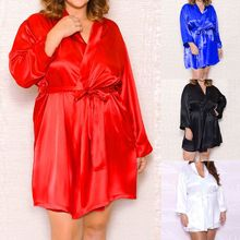 Womens Plus Size Faux Silk Nightgown Solid Loose Kimono Bride Bath Robe Belted