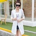 Verão novo Slim longa seção de seção fina camisa com ar-condicionado roupas de proteção solar mulheres jaqueta corta-vento