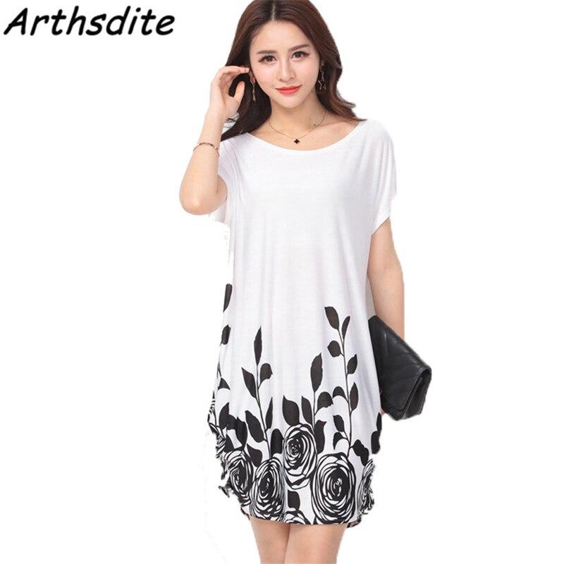 Arthsdite Fashion Ice Silk Dress Summer Big Size Casual Loose Floral Dot Print Beach Dresses Plus Size Women Clothing Fat MM