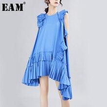 [EAM] 2020 년 봄 여름 라운드 넥 민소매 블루 불규칙한 주름 장식 스티치 루스 드레스 여성 패션 조수 JX338