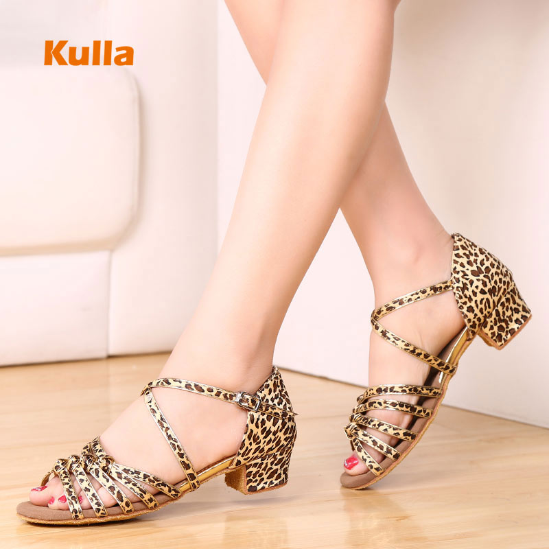 Low Heels Child Girls Dance Shoes Latin Ballroom Salsa Shoes for Children Dancing Leopard Silver Kids Performance Dance Shoe(China)