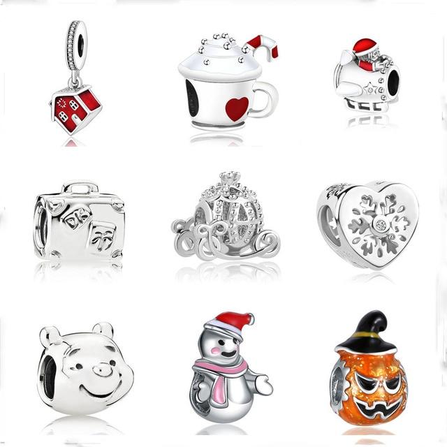 Europea 1 unid regalo de Navidad casa taza muñeco de nieve diy bead fit Original Pandora encantos pulsera de plata 925 de la joyería para las mujeres f010