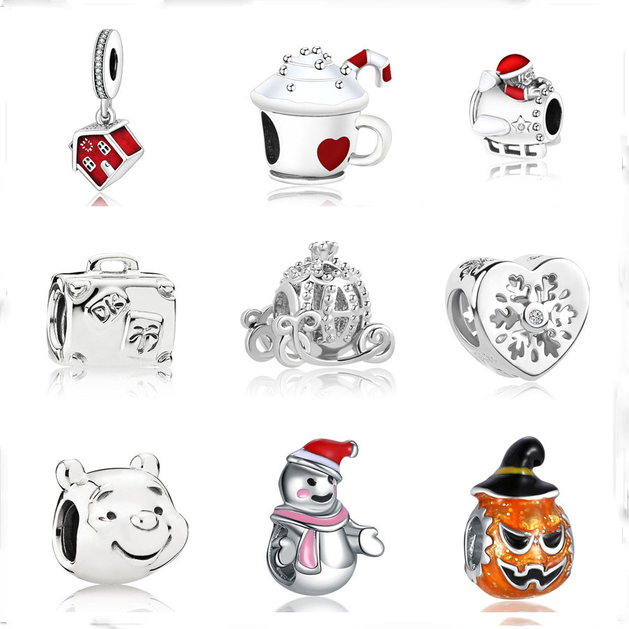 Pandora Christmas Charms.Us 0 37 38 Off European 1pc Christmas Gift House Cup Snowman Diy Bead Fit Original Pandora Charms Silver 925 Bracelet Jewelry For Women F010 In