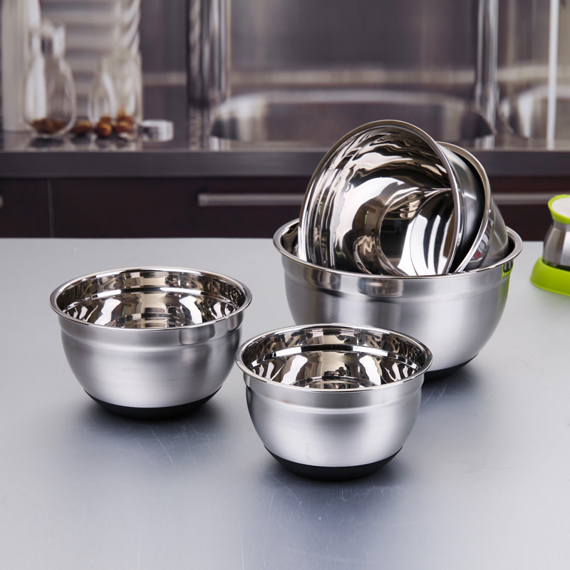 2017 Thicken Stainless Steel Silicone Bottom Prevent Splash Egg Beating Pan/Mixing Bowl/ ...