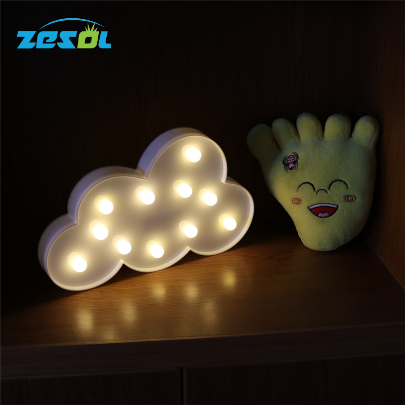 ZESOL Chirtmas Dekoration Cloud Luminaria Skrivbordslampa LED Night Light Sign 3D Star Markera Figurbatteri