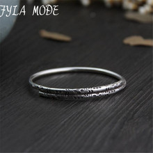 Fyla Mode Authentic s999 Sterling Silver Bangles Cuff Carved Fashion Jewelry for Women Made in Thailand 6.50mm 22.60G WTB051