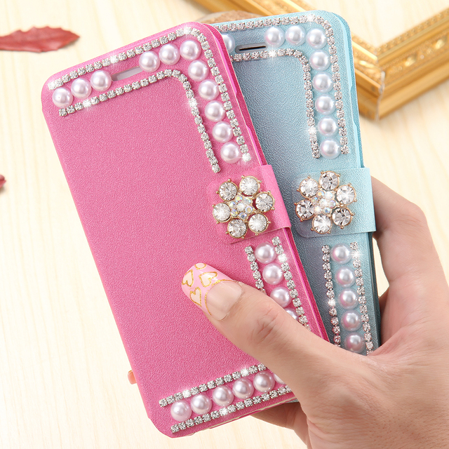 Pearl Silk Leather Case For iPhone 6 6s 7 Plus 5S SE Card Slot Girly Wallet