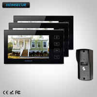 HOMSECUR 7 Video Doorphone Intercom Doorbell Home Security 1Camera 3Monitor Night Vision