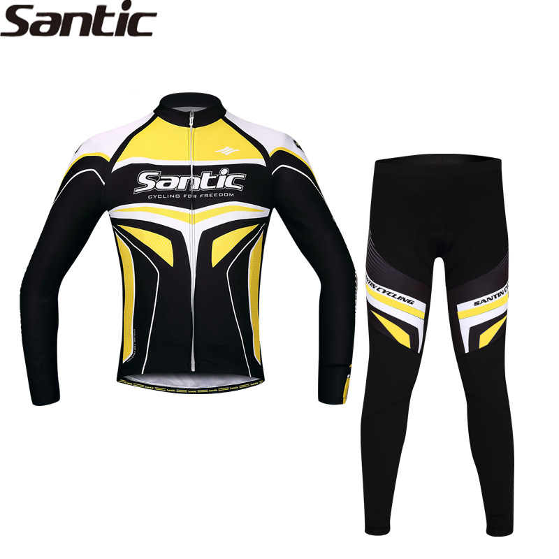 SANTIC Cycling Jersey Men Spring Autumn Years of Passion Long Sleeve Racing Team Professional Sportswear Bicycle Suit WSM143
