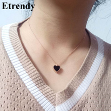 Classic Fashion Heart Necklace For Women Lady Rose Gold-Color Chain Short Necklaces & Pendants Jewelry Wholesale Bijoux comtex syl149042 lady watch fashion classic gold color sweet ladylike