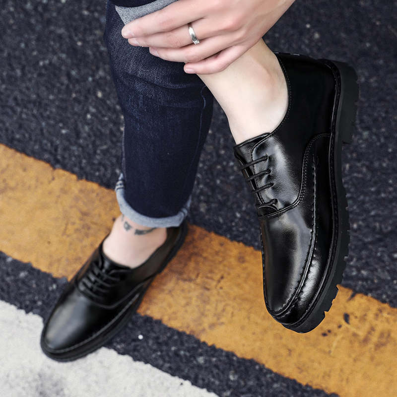 Men Oxfords Leather Shoes British Black Shoes handmade comfortable formal Shoes Dress Men Flats Lace Up Bullock Sorrynam in Formal Shoes from Shoes