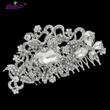 Серебряный тон цветов волосы расческой ясно горный хрусталь кристалл заколки для свадебных аксессуаров свадебные прически головной убор 4907