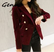 Genuo Quality New Fashion 2019 Designer Blazer Jacket Womens Metal Lion Buttons Double Breasted Outer Coat Size S-XXXL