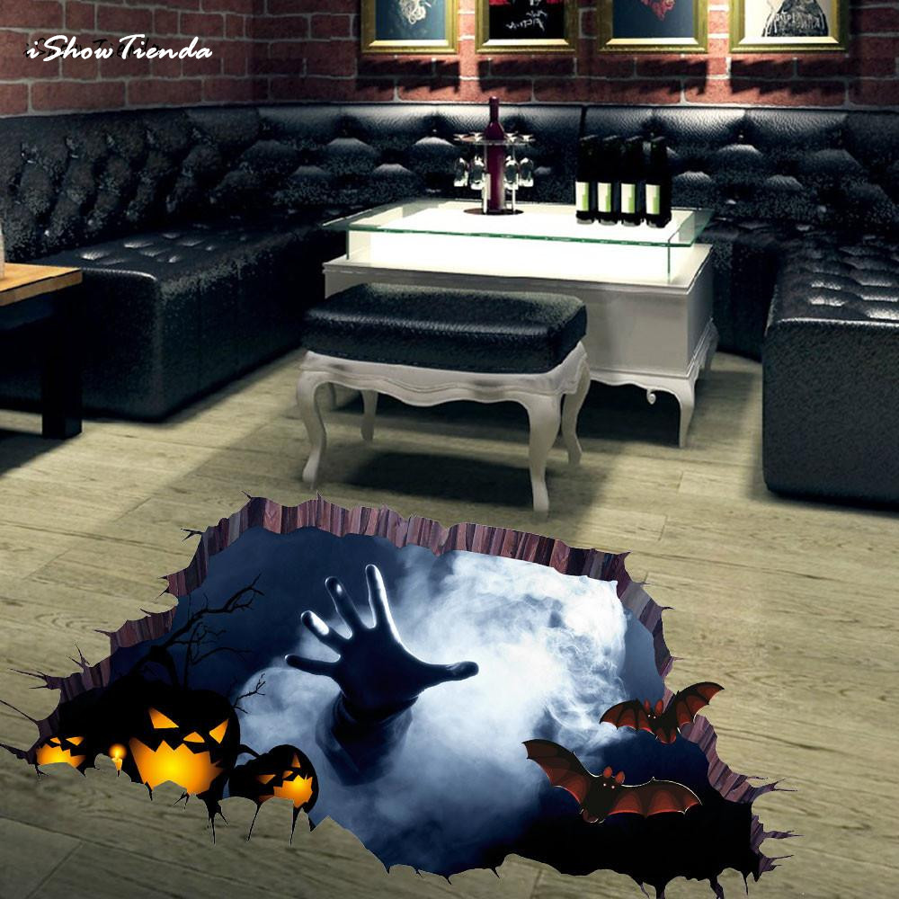 ISHOWTIENDA 1 PC 3D 75cm*34cm Happy Halloween Household Room Floor Wall Sticker Mural Decor Decal Removable Wall Paper New ...